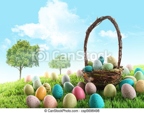 Colorful easter eggs in field of grass  - csp5698498