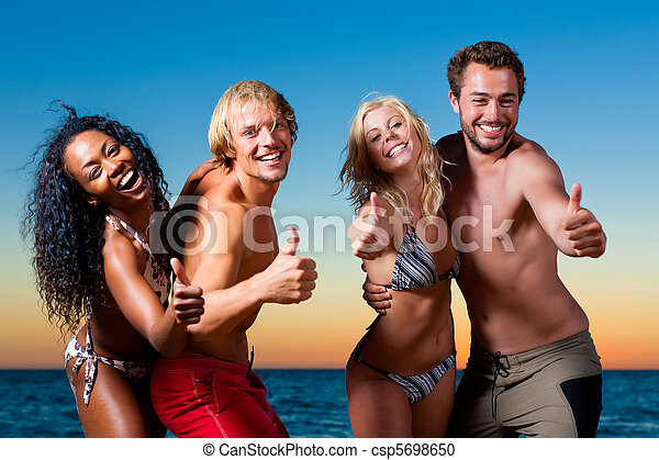 People having party at beach - csp5698650
