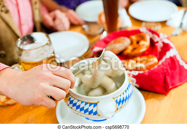 Breakfast with Bavarian white veal sausage - csp5698770