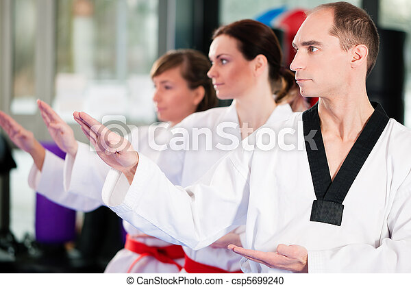 Martial Arts sport training in gym - csp5699240