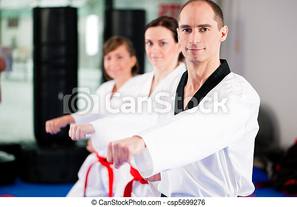 Martial Arts sport training in gym - csp5699276
