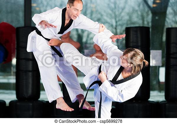 Martial Arts sport training in gym - csp5699278