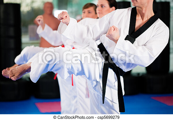 Martial Arts sport training in gym - csp5699279