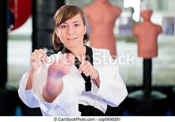 Martial Arts sport training in gym - csp5699281