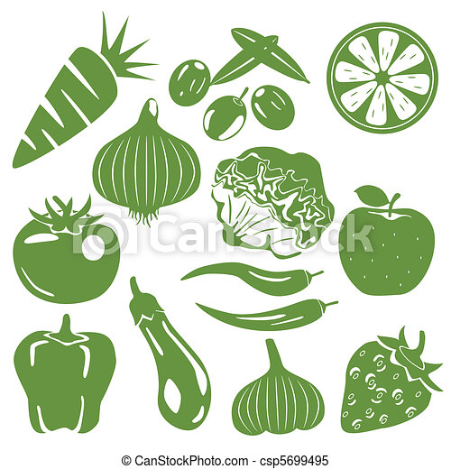 Foodstuff green icons set - csp5699495