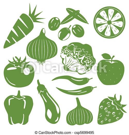 Foodstuff green icons set - csp5699495