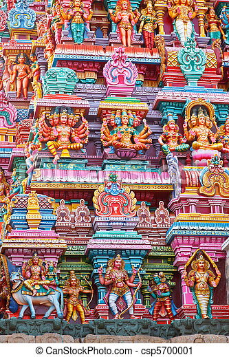 Sculptures on Hindu temple gopura - csp5700001