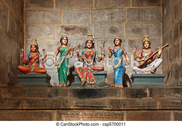 Hindu goddesses Parvati, Lashmi and Saraswati - csp5700011