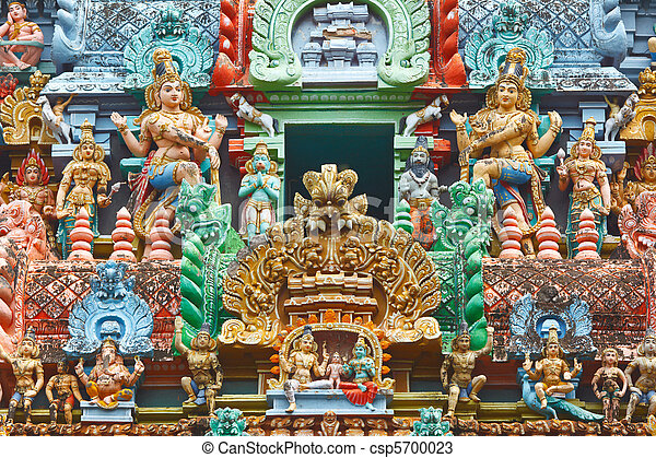 Sculptures on Hindu temple gopura - csp5700023