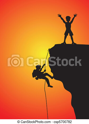 Vector Illustration of rock climbing - two climbers climbing the cliff ...