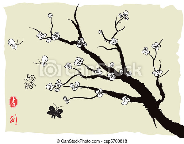 chinese painting of spring plum blossom - csp5700818