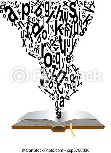 Open book with words clipart
