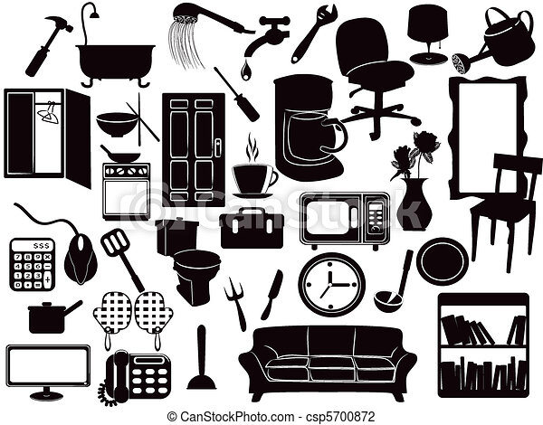 Vector Illustration Of Furniture Icons Several