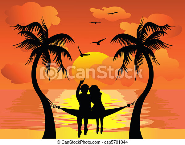 lover watching sunset - csp5701044