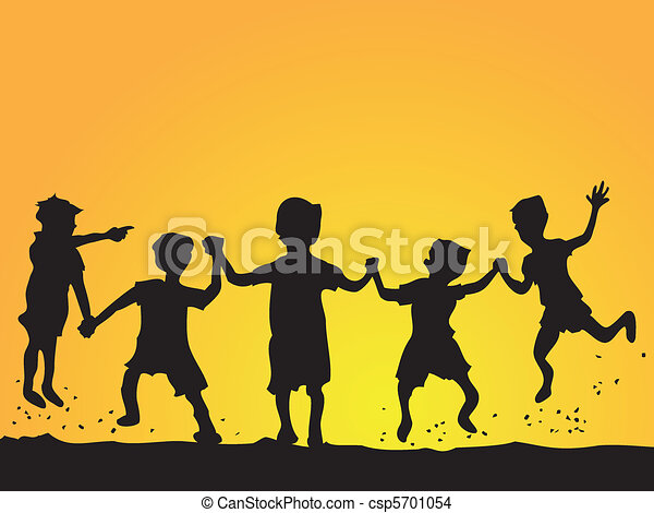 playing kids silhouette - csp5701054