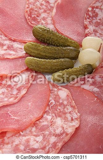 delicatessen, bacon and ham - csp5701311