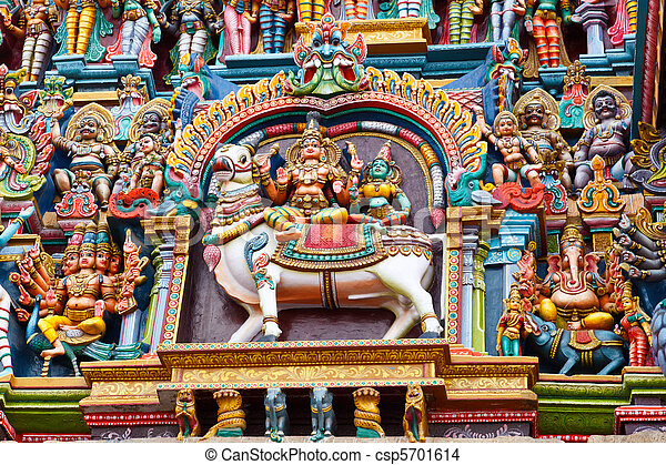 Sculptures on Hindu temple tower - csp5701614