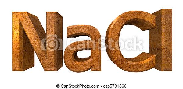 NACL solt - 3d chemistry formulas in wood - csp5701666