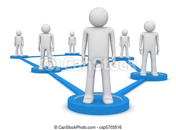 Social network concept. People standing on pedestals connected by lines. Isolated. One of a 1000+ characters series. - csp5703516