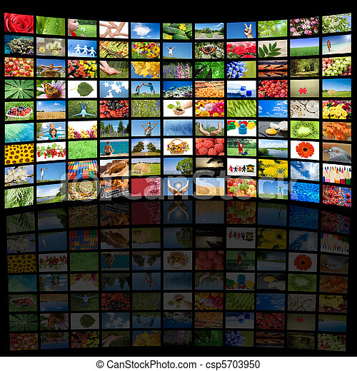 Tv screen showing pictures, all used images are my property - csp5703950