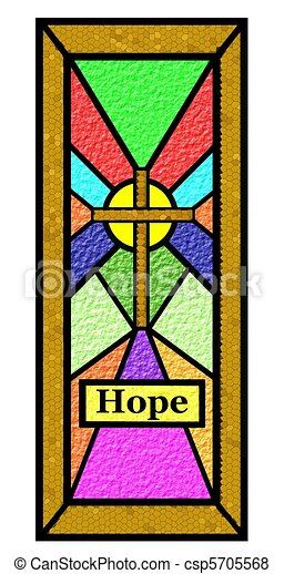 easter hope stain glass window - csp5705568