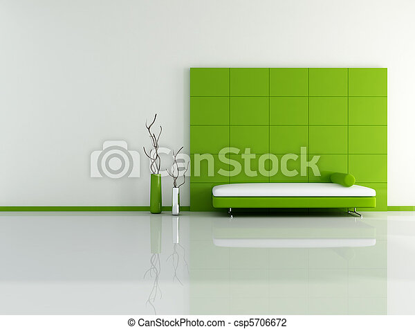 minimal green living room - csp5706672