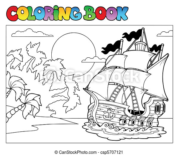 Coloring book with pirate scene 2 - csp5707121