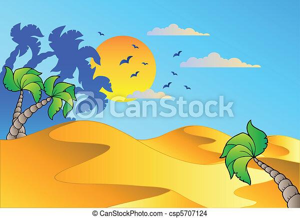 caricatura, paisaje, desierto - csp5707124