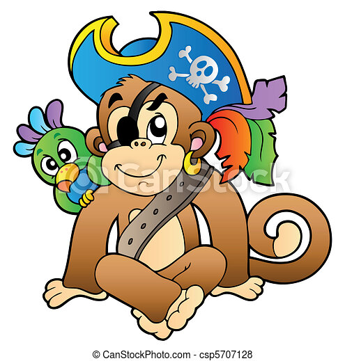 Pirate monkey with parrot - csp5707128