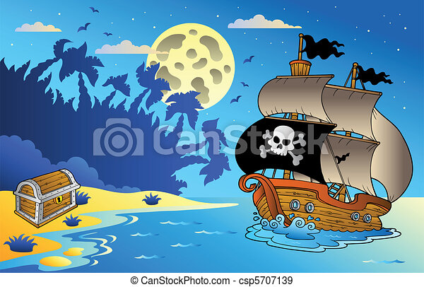 Night seascape with pirate ship 1 - csp5707139