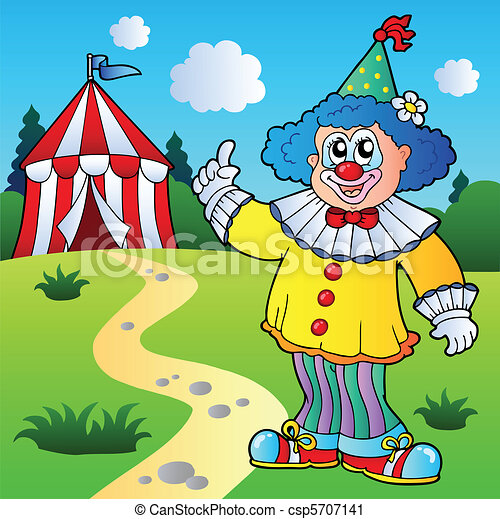 Funny clown with circus tent - csp5707141
