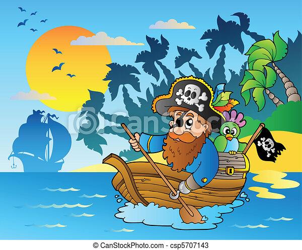 Pirate paddling in boat near island - csp5707143