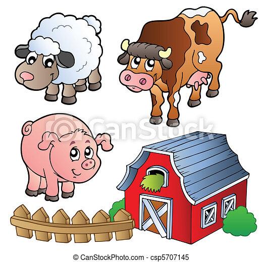 Collection of various farm animals - csp5707145