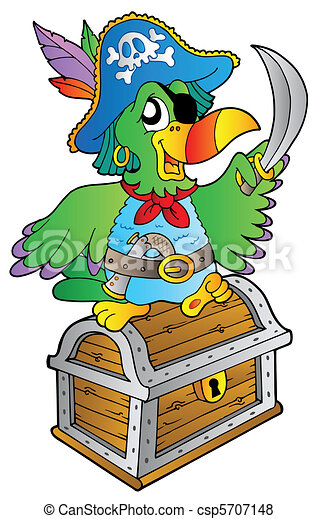 Pirate parrot on treasure chest - csp5707148
