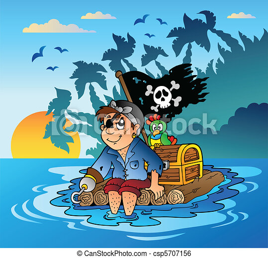 Pirate sailing on wooden raft - csp5707156