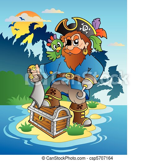 Pirate standing on chest on island - csp5707164