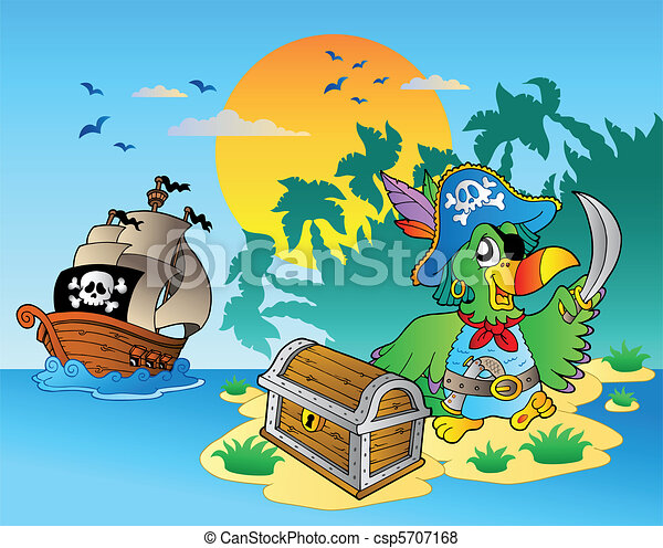 Pirate parrot and chest on island - csp5707168