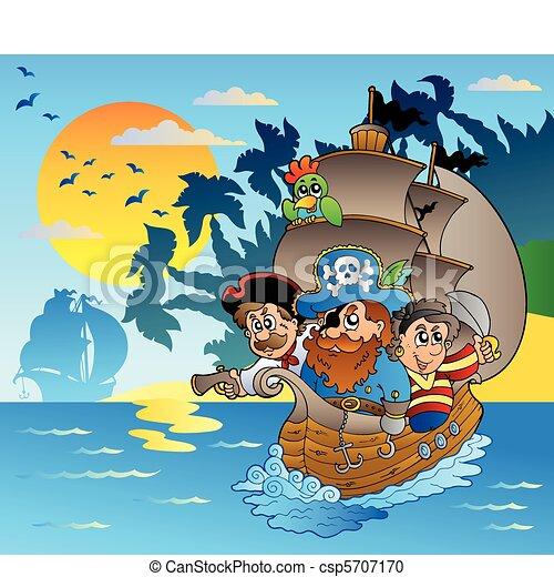 Three pirates in boat near island - csp5707170