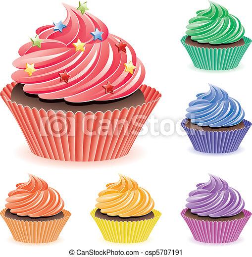 vektor clip art von cupcakes bunte vektor satz von bunte cupcakes csp5707191 suchen sie. Black Bedroom Furniture Sets. Home Design Ideas