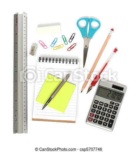 ruler notepad scissors pen calculator - csp5707746
