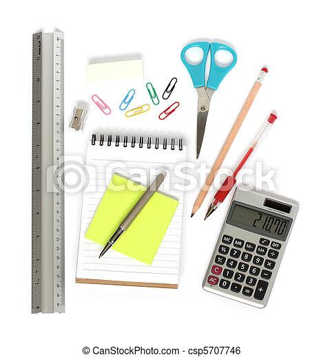 ruler notepad scissors pen calculator - csp5707746