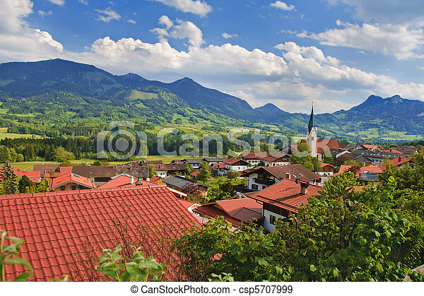 Picturesque village in Alps - csp5707999