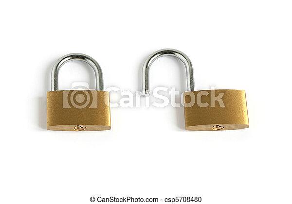 locked closed and unlocked open padlocks - csp5708480
