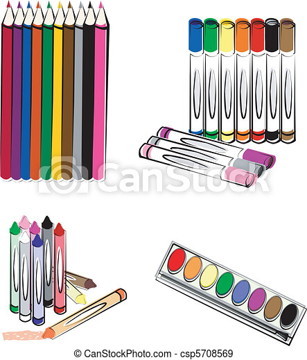 vecteurs eps de crayons  crayons  marqueurs color u00e9 clip art of crayons black and white clip art of crayons pencil and paper