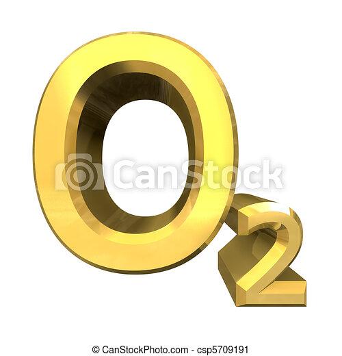 3d chemistry formulas in gold of Oxygen  - csp5709191
