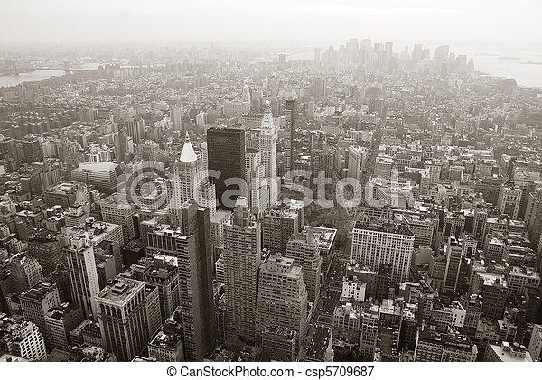 New York City Manhattan skyline aerial view black and white - csp5709687