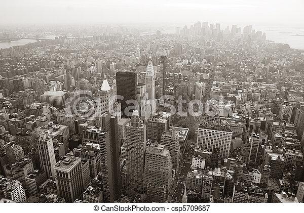 New York City Manhattan skyline aerial view black and white - csp5709687
