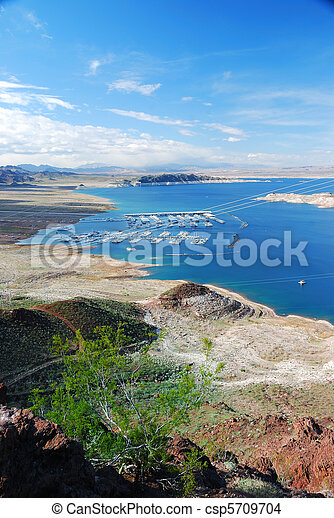 Lake mead panorama on Colorado River. Lake mead is the largest reservoir in the United States. - csp5709704