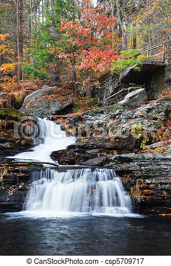 Autumn Waterfall in mountain - csp5709717