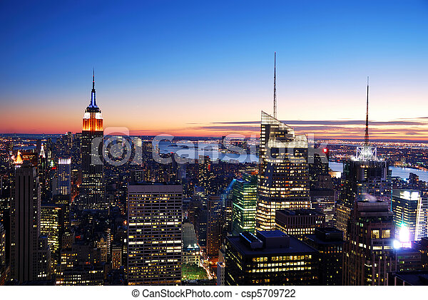 New York City Manhattan skyline aerial view - csp5709722